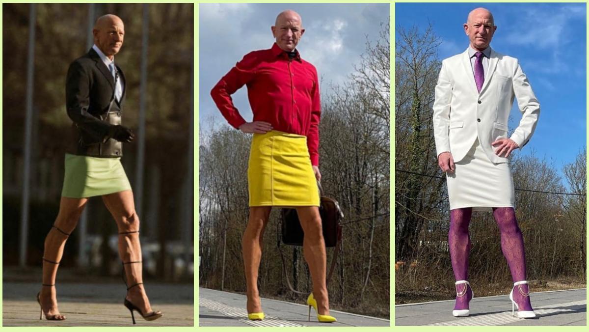 Mark Bryan documenta desde hace poco más de un año sus 'outfits' con tacones y falda para ir a trabajar a la oficina.