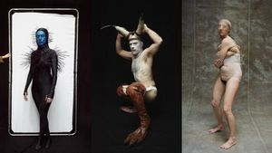 Tres personajes de 'Arcas 2020'. De izquierda a derecha, Hybrid; Cuervaloma y Consuelo, el último ser humano.