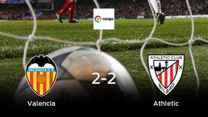 El Valencia y el Athletic empatan en el estadio de Mestalla (2-2)