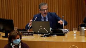 El gobernador del Banco de España, Pablo Hernández de Cos, en la Comisión de Asuntos Económicos del Congreso.