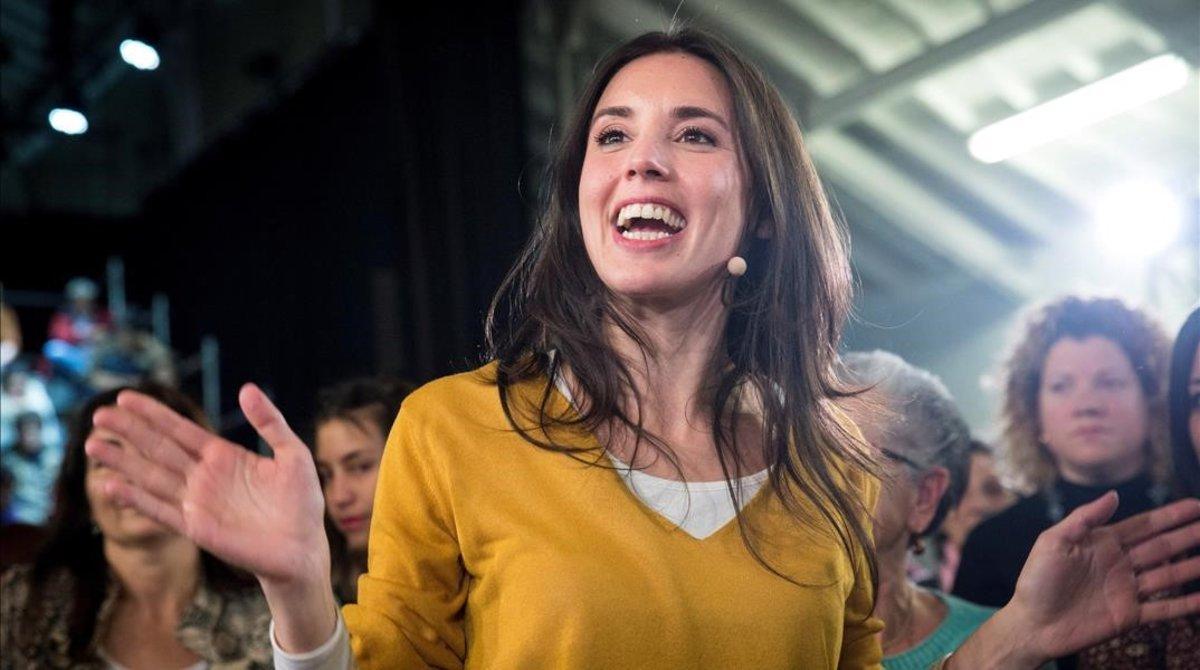 La portavoz de Unidos Podemos en el Congreso, Irene Montero, en el acto 'La vida, en el centro'
