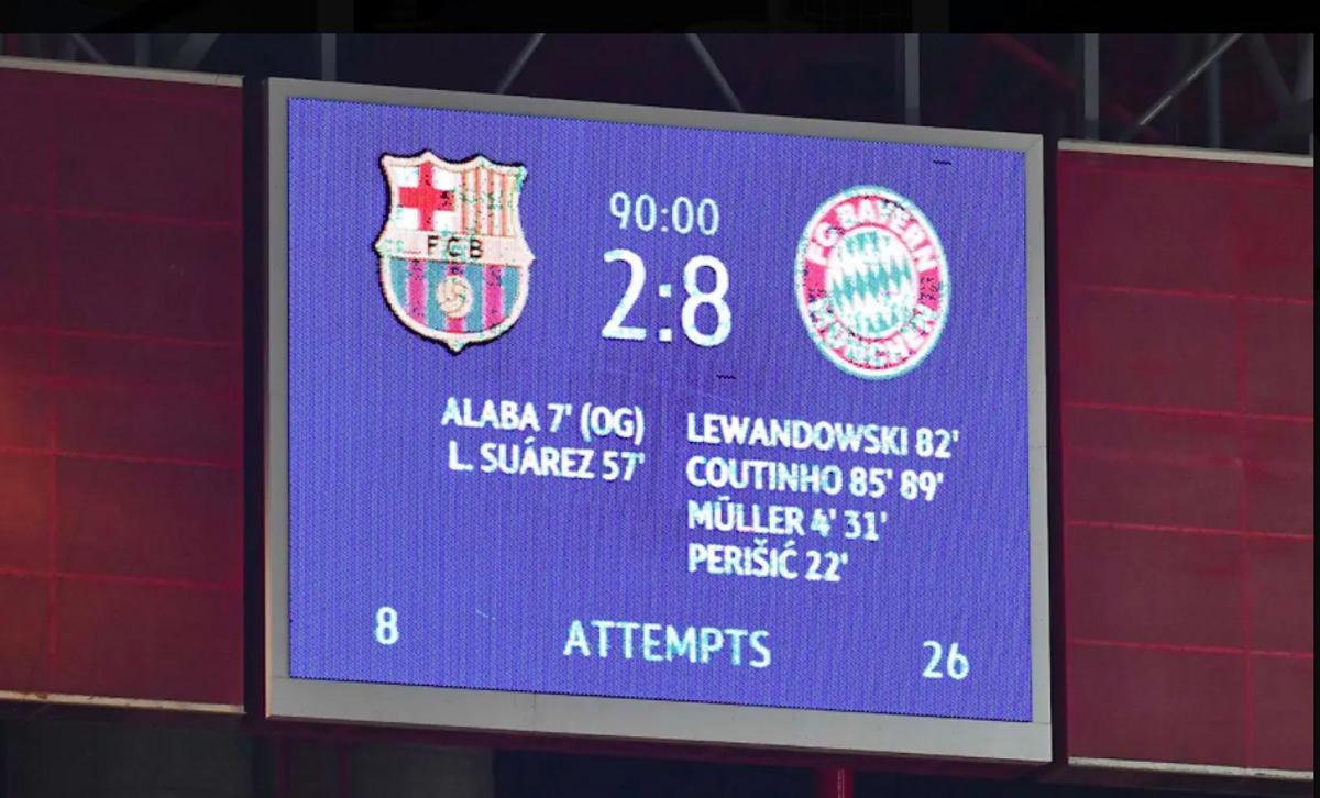 Lisboa, 14-agosto-2020, cuartos de final de la Champions. El marcador del Barça-Bayern de Múnich.