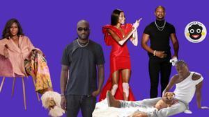De izquierda a derecha, Fe Noel, Virgil Abloh, LaQuan Smith con la modelo Winnie Harlow y Telfar Clemens. El logo es de Patrick Kelly.