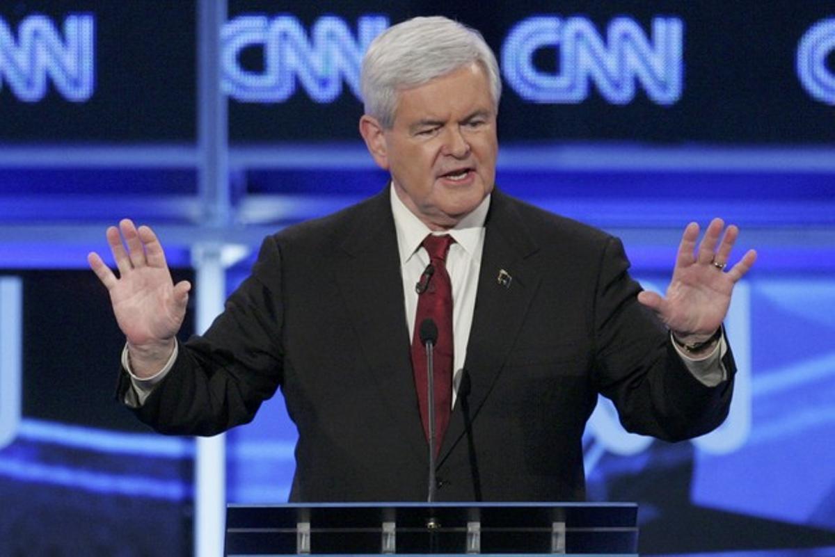 El candidato republicano Newt Gingrich, durante una intervención en la CNN.