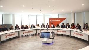 Reunión del Comité Ejecutivo de Ciudadanos presidido por el presidente, Albert Rivera, el pasado 18 de febrero.