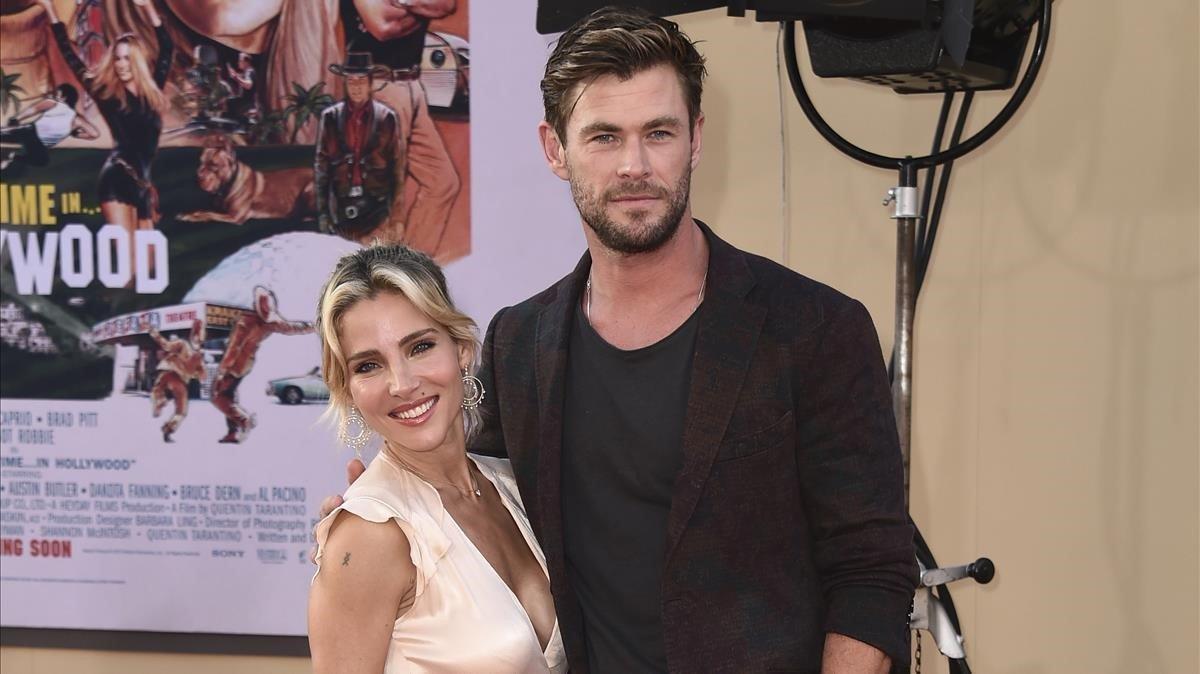 Elsa Pataky y Chris Hemsworth, en la presentación de 'Érase una vez... en Hollywood'.