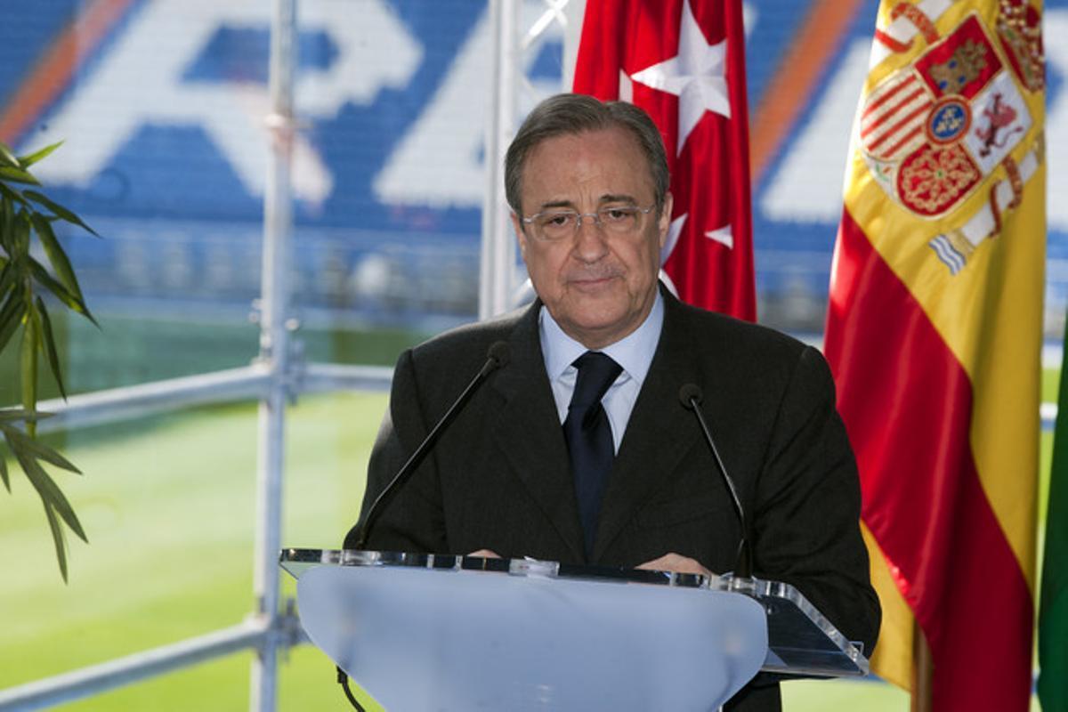 Florentino Pérez, el pasado 22 de marzo, en una rueda de prensa en Madrid.