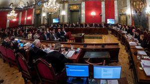 La Sala de Plenos del Tribunal Supremo durante el juicio del 'procés'