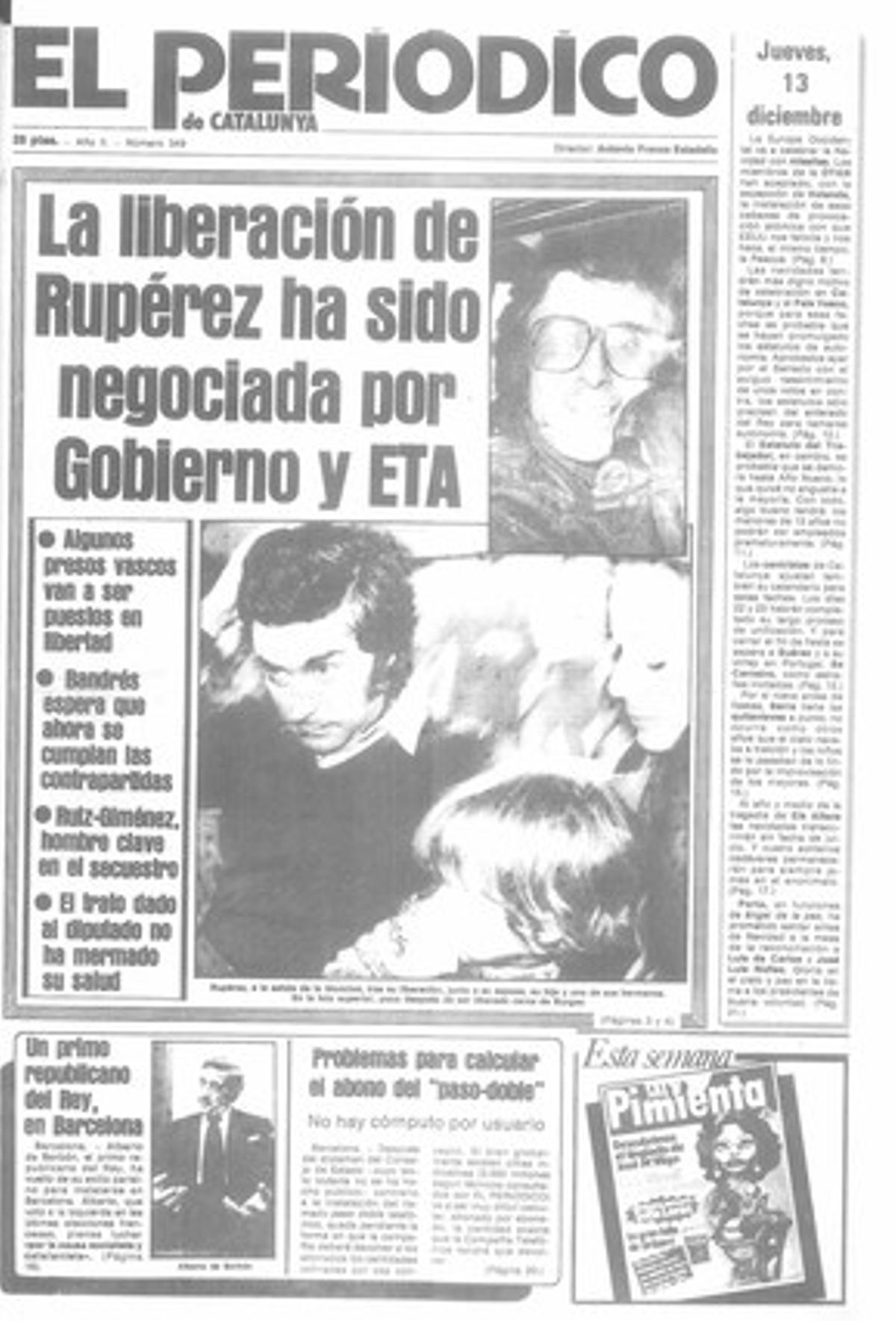 Acaba el secuestro de Javier Rupérez. 13/12/1979
