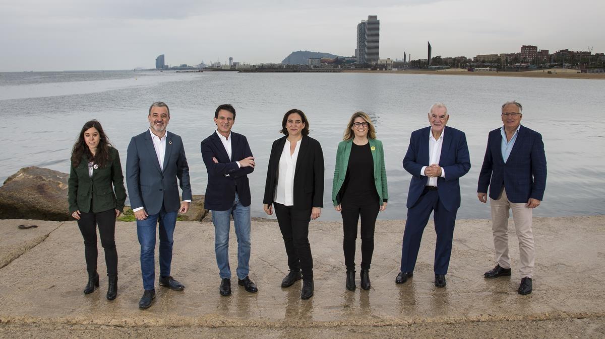 Los presidentes de los grupos municipales de Barcelona, cuando eran candidatos, el 25 de mayo de 2019.