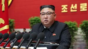 Kim Jong-un hablando durante la ceremonia de apertura del 8º Congreso del Partido de los Trabajadores de Corea en Pyongyang en enero.