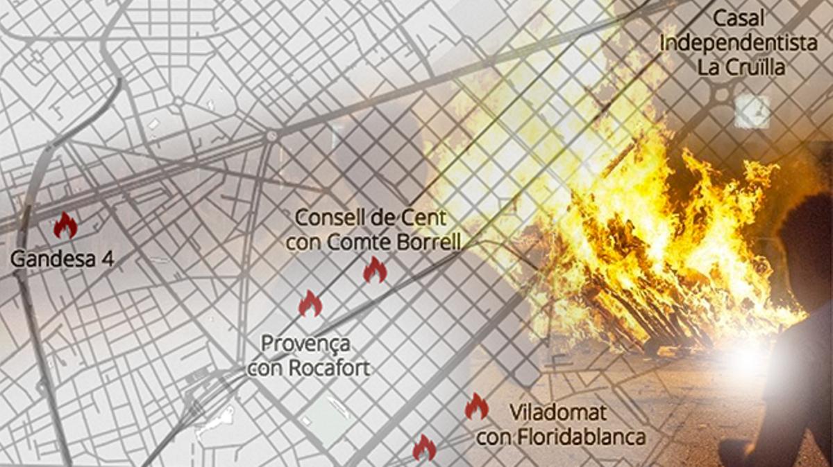 Mapa de las hogueras y verbenas de Sant Joan 2021 en Barcelona