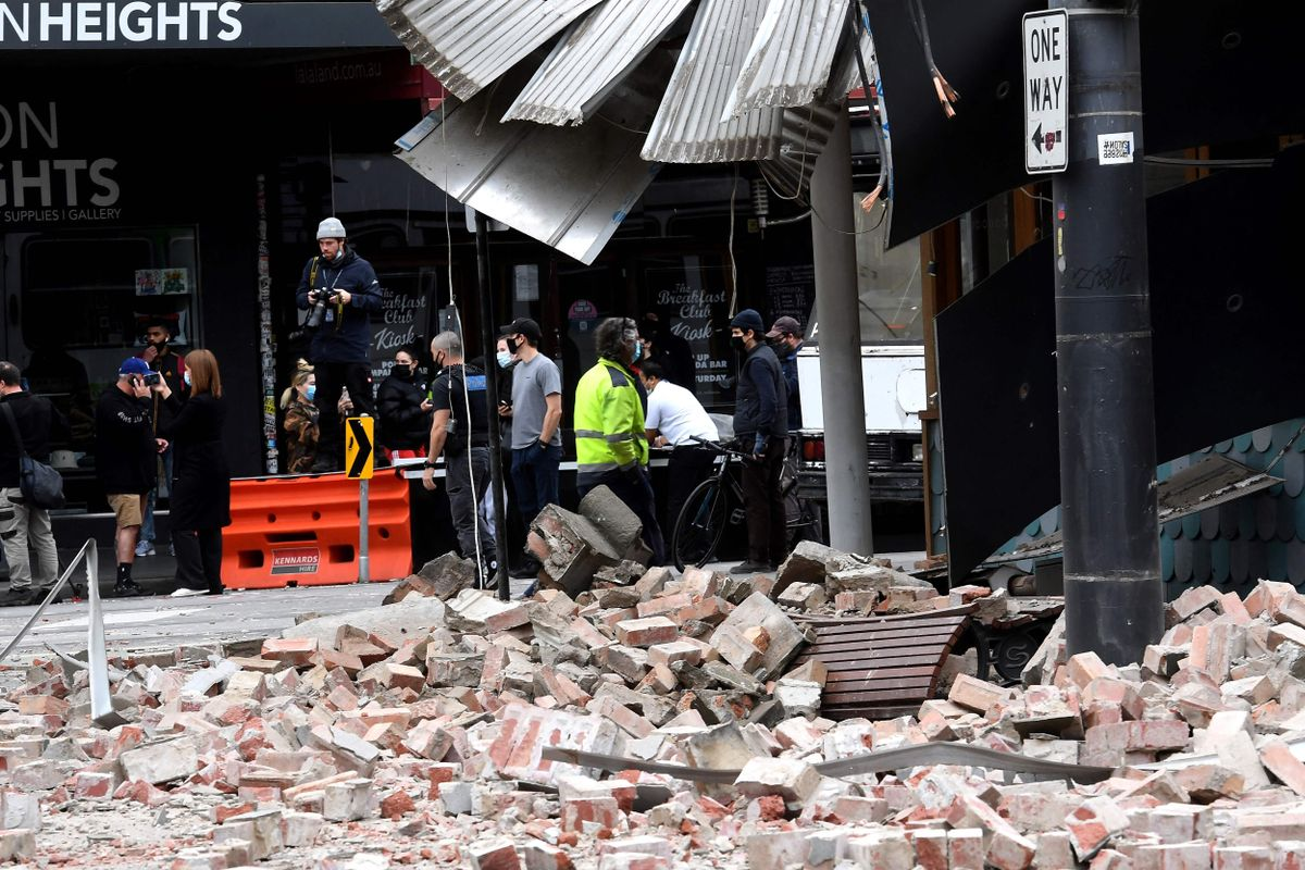 Edificio afectado por el terremoto en Chapel Street, una de las principales calles comerciales de Melbourne.