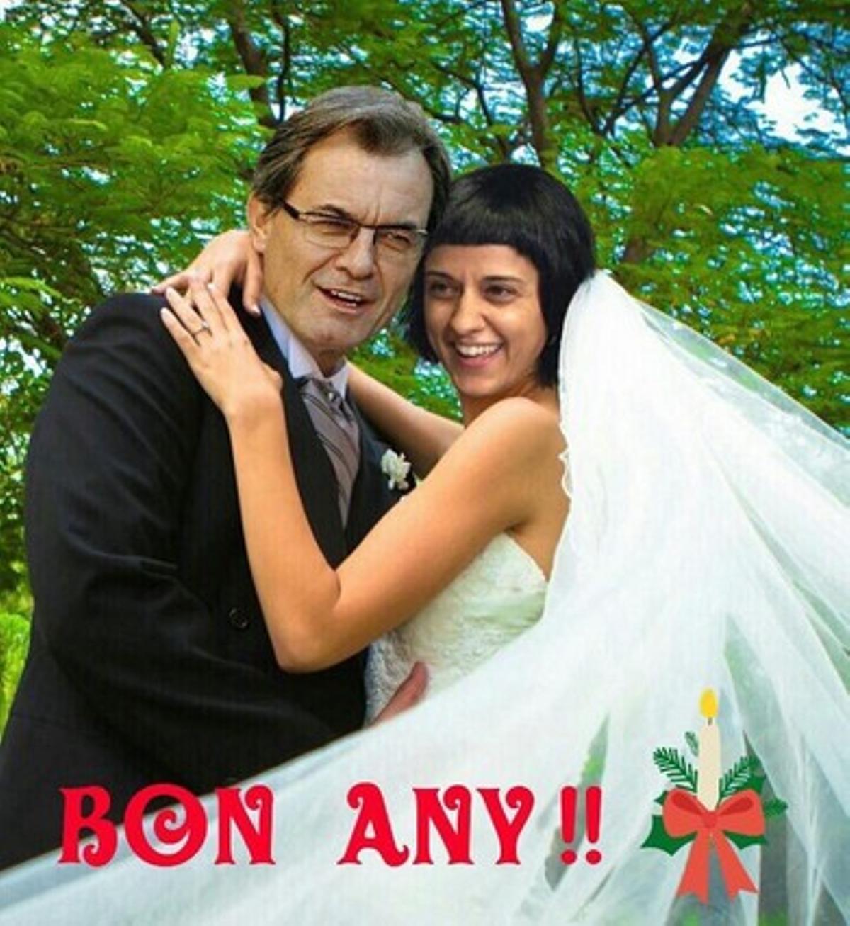 Foto trucada en la que se puede ver a Artur Mas y Anna Gabriel,en plena boda,felicitando el 2016.
