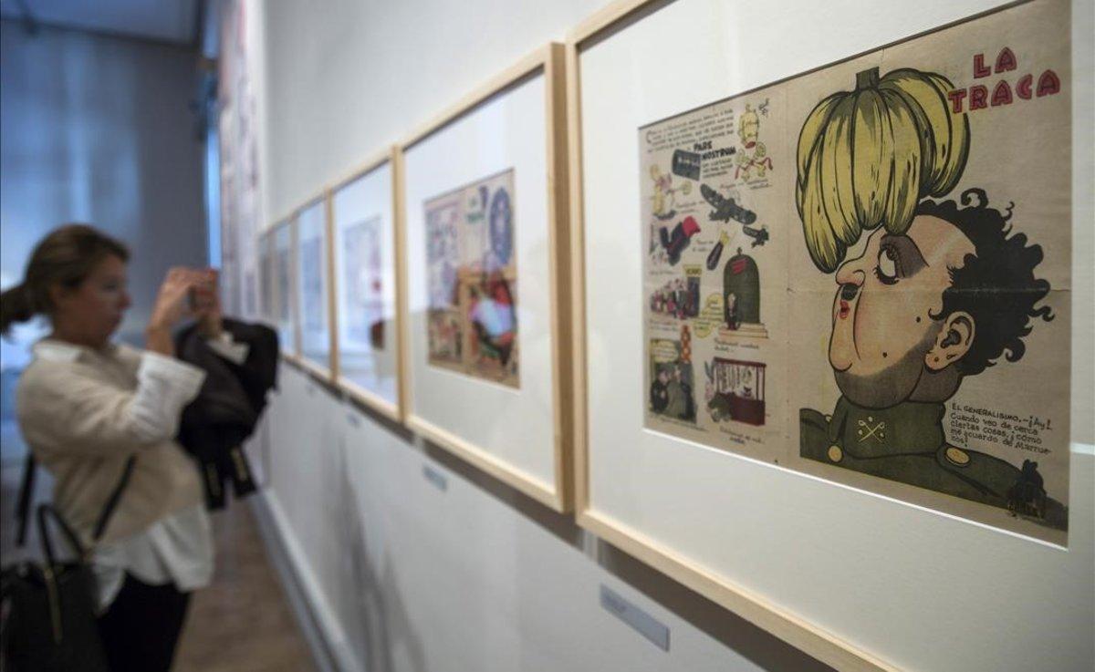 Una de las viñetas de Franco que les supuso la sentencia de muerte a los responsables de La Traca en una exposición de la Universitat de València