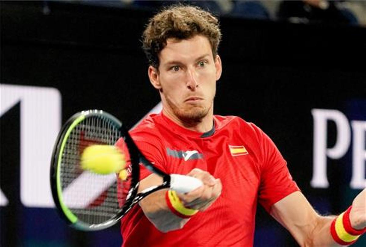 Carreño durante su partido contra Grecia en la ATP Cup.