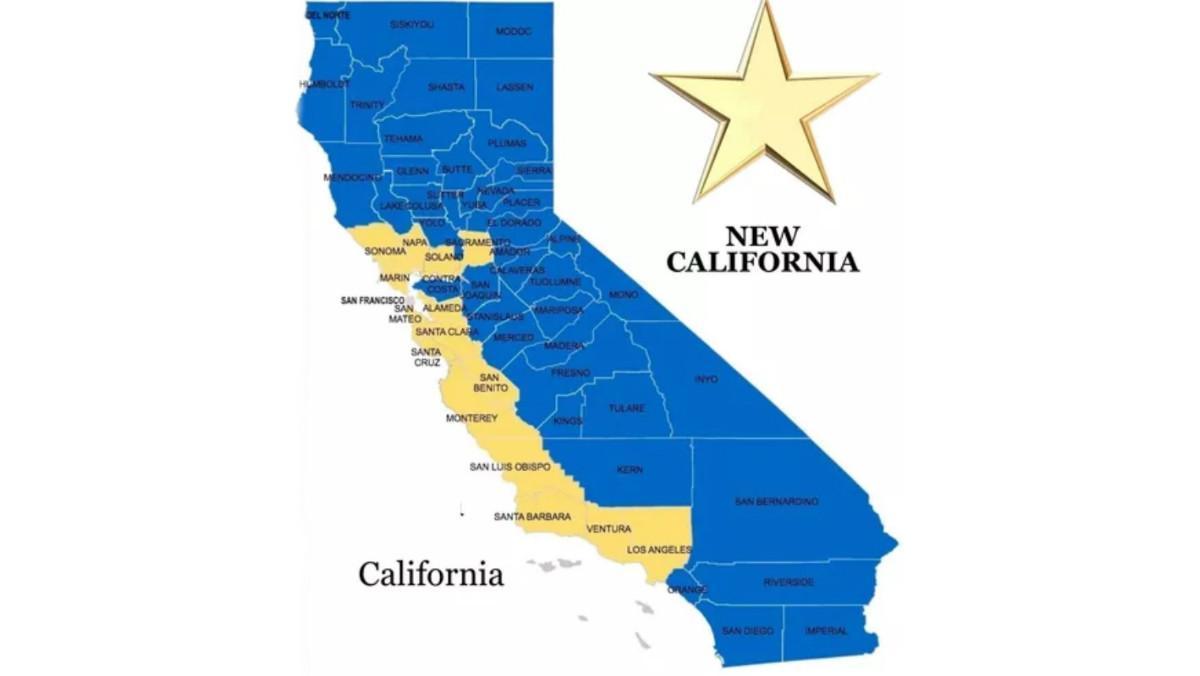 El mapa de la división del estado de California entre Nueva California y Vieja California