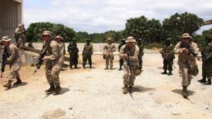 Efectivosestadounidenses en unabase militar en Kenia.