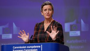 European Executive Vice-President Margrethe Vestager gives a press conference on an anti-trust case with the multinational technology company  Amazon website at European Commission in Brussels on November 10  2020  - The European Union formally accused US giant Amazon on November 10  2020  of abusing its control over an online marketplace to distort competition  a breach of anti-trust rules  Competition commissioner Margrethe Vestager said Brussels had informed the company of its view and would push on with an investigation  while opening a second formal probe  (Photo by Olivier HOSLET   POOL   AFP)