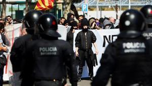 Protesta contra Vox, el sábado en Barcelona.