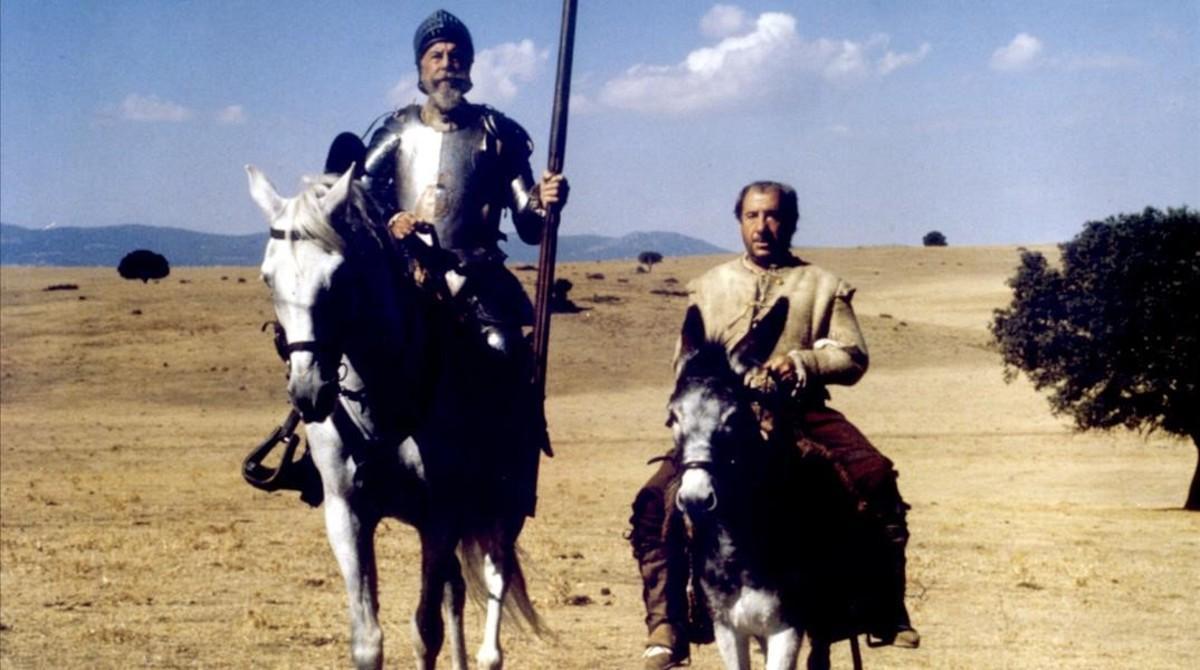 Fernando Rey y Alfredo Landa, en 'El Quijote'.