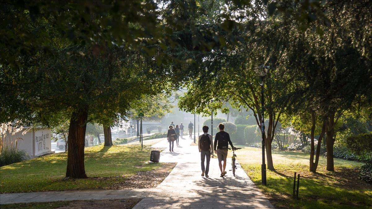 Estudiantes paseando por la Universitat Autònoma de Barcelona (UAB), en una imagen de archivo