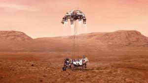 Recreación del aterrizaje del robot 'Perseverance' en Marte.