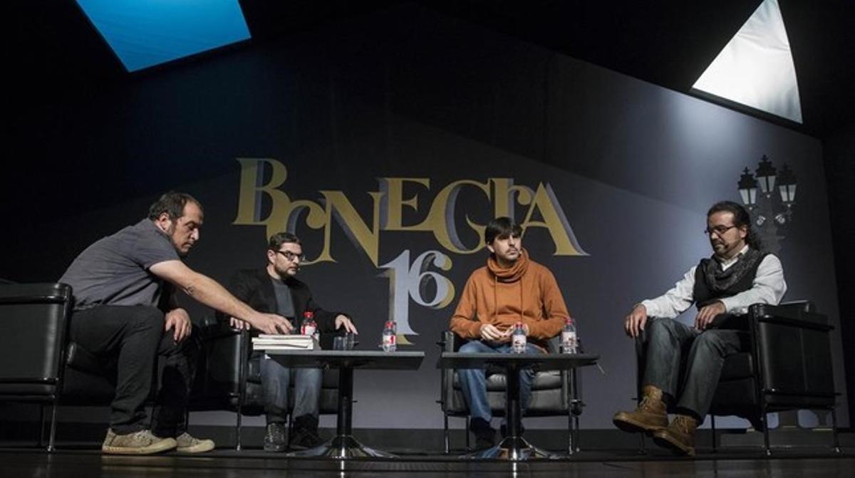 Daniel Fernández, Xavier Aliaga, Juanjo Garcia y Juanjo Braulio, en el homenaje a Rafael Chirbes en BCNegra.