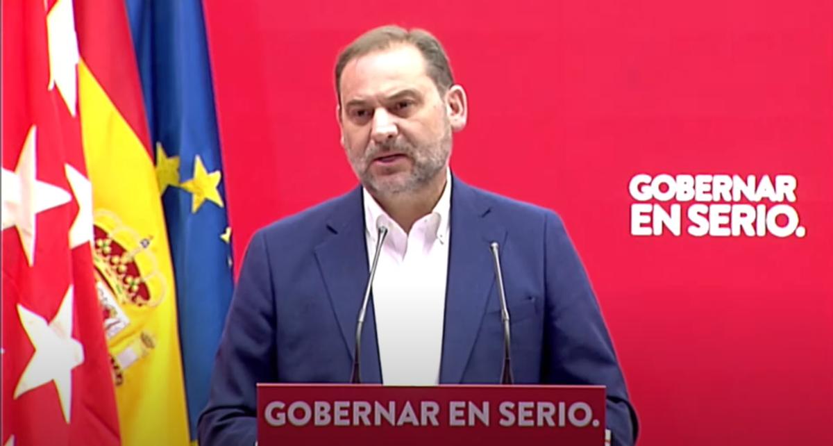 José Luis Ábalos, en el acto sobre vivienda celebrado este domingo con el candidato a la presidencia de la Comunidad de Madrid, Ángel Gabilondo.