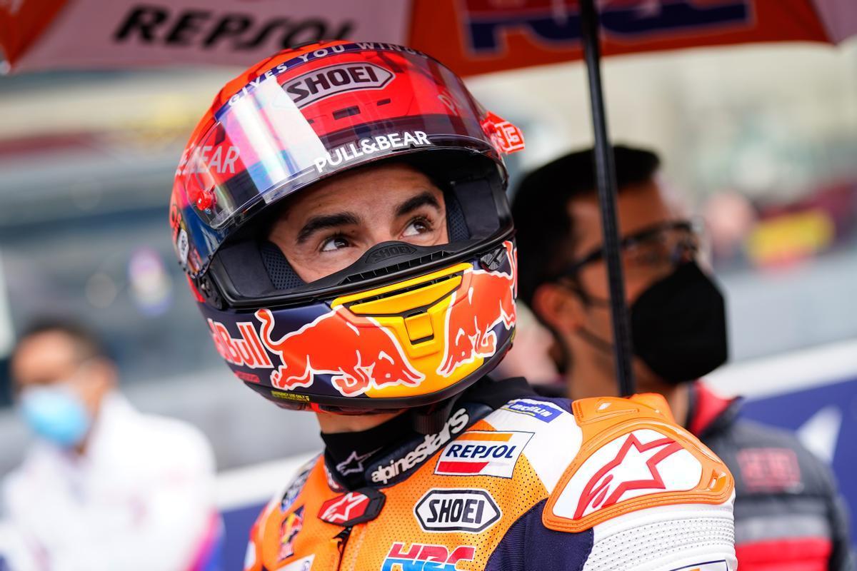 Marc Márquez (Honda), ayer en la parrilla del GP de Francia, en Le Mans.
