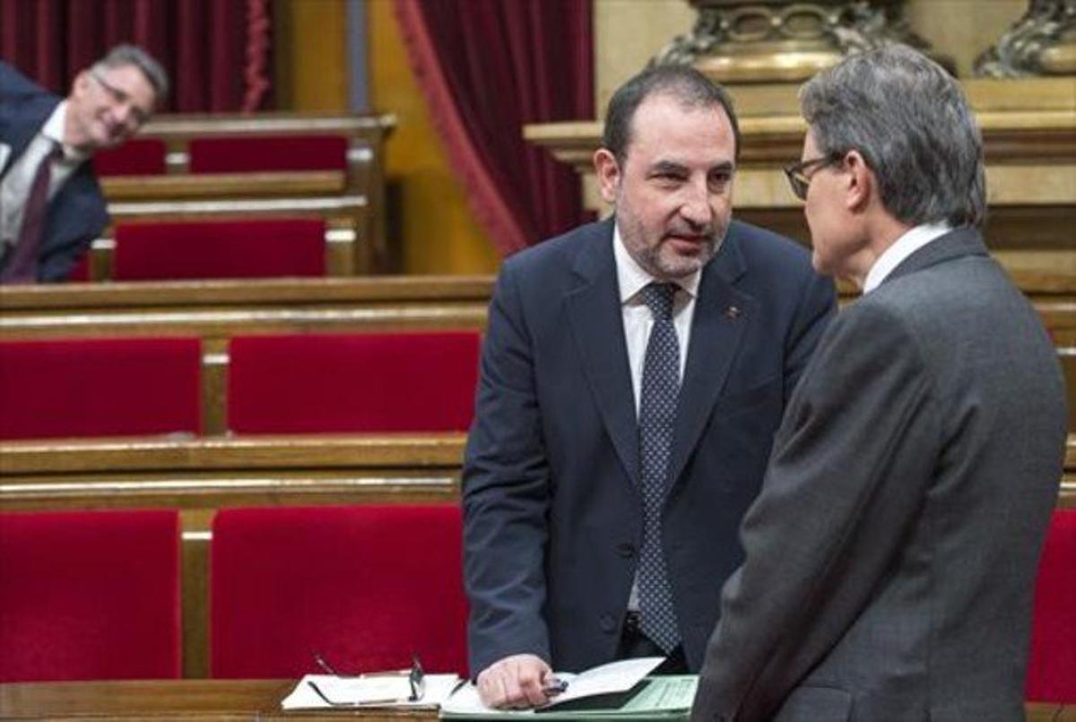 Espadaler y Mas, el pasado mes de febrero, en el Parlament.