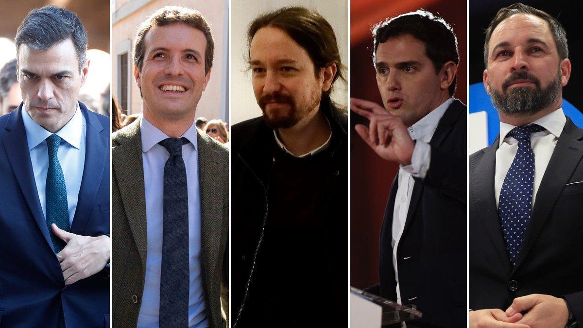 Sánchez, Casado, Iglesias, Rivera y Abascal.