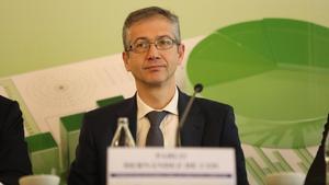 El gobernador del Banco de España, Pablo Hernández de Cos, en las jornadas del Enerclub