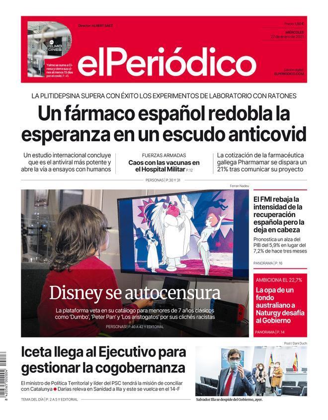 La portada de EL PERIÓDICO del 27 de enero de 2021