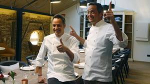 Javier y Sergio Torres, en el restaurante Dos Cielos de Madrid, inaugurado este jueves.