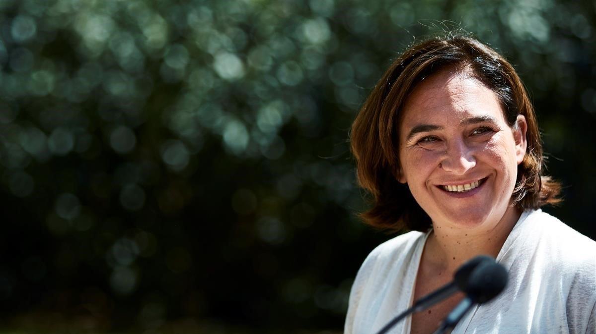 Ada Colau, en un acto de campaña.