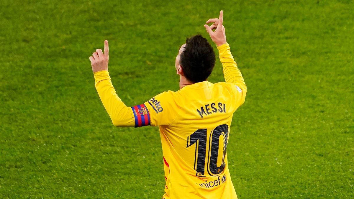 Messi celebra un gol en Bilbao.