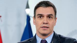 Pedro Sánchez, durante la comparecencia de este sábado en La Moncloa.