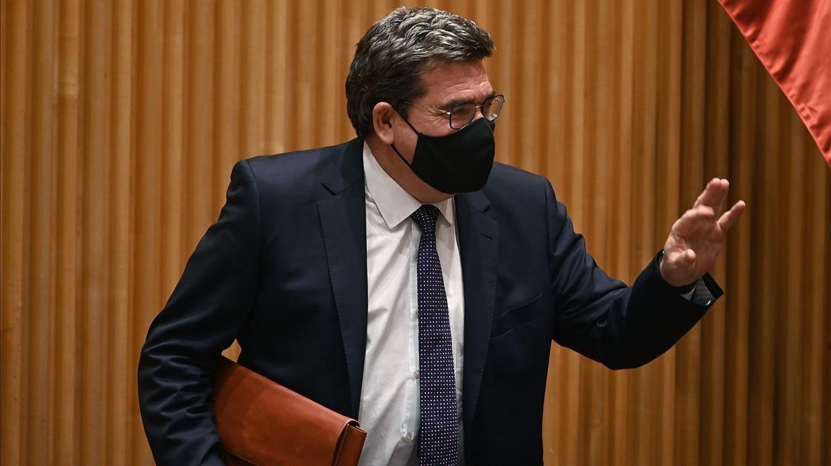 El Ministro de InclusiónSeguridad Social y Migraciones, José Luis Escrivá,durante su comparecencia este jueves en la Comisión de Trabajo.