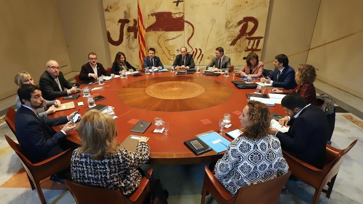 Una reunión del Consell de Govern, en el Palau de la Generalitat.