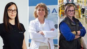 De izquierda a derecha: Teresa Busto (vicepresidenta de Airbus), Cristina Aleixendri (CEO de  Bound4Blue) y Cristina Pardo (oficial de taller en FGV).