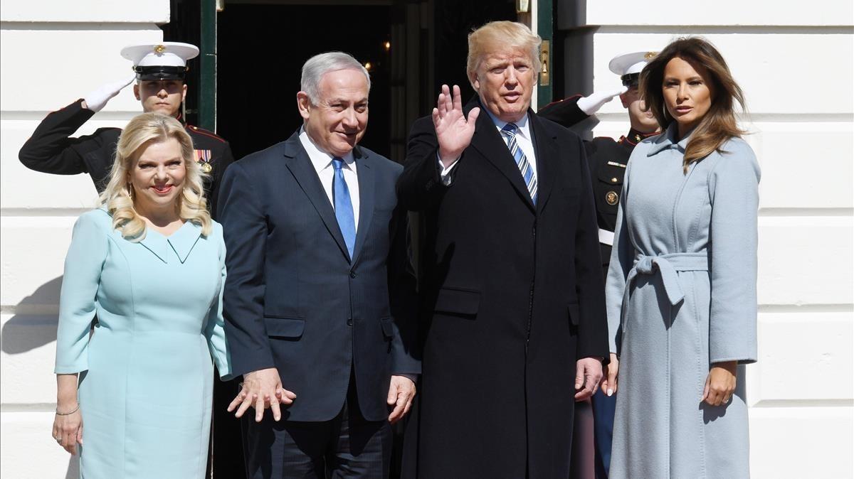 Trump y Netanyahu, con sus respectivas esposas, en marzo del 2018 en Washington.
