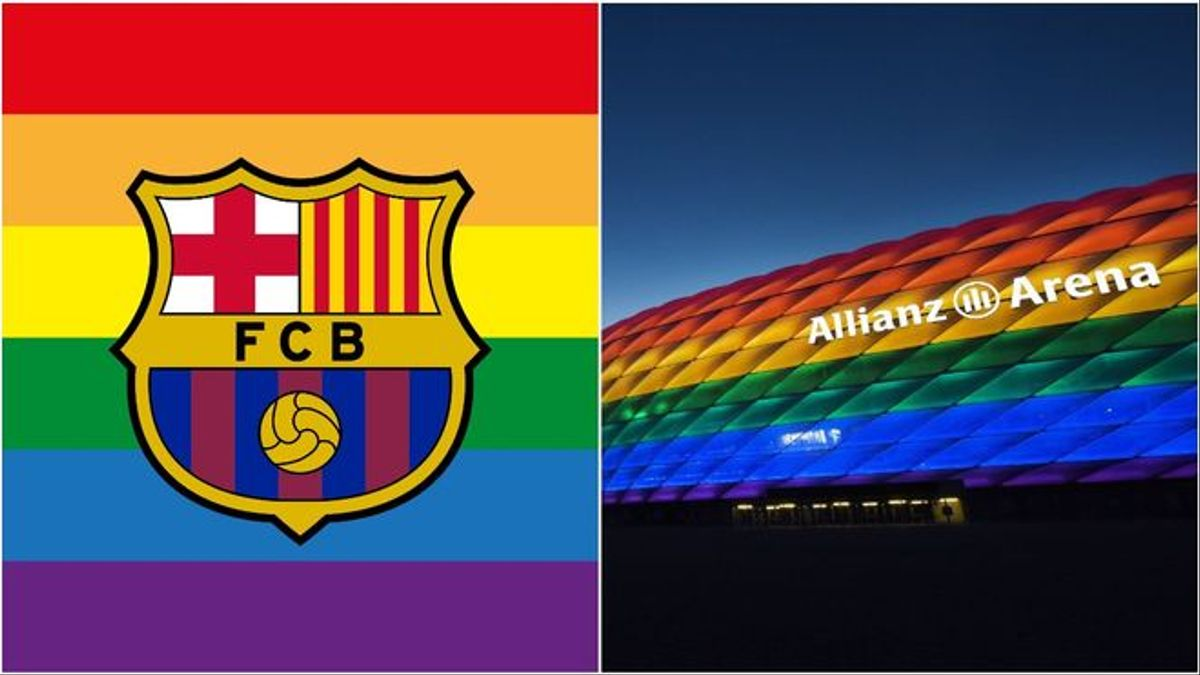 El escudo del Barça y el estadio Allianz Arena iluminado con los colores que simbolizan el movimiento LTGBI