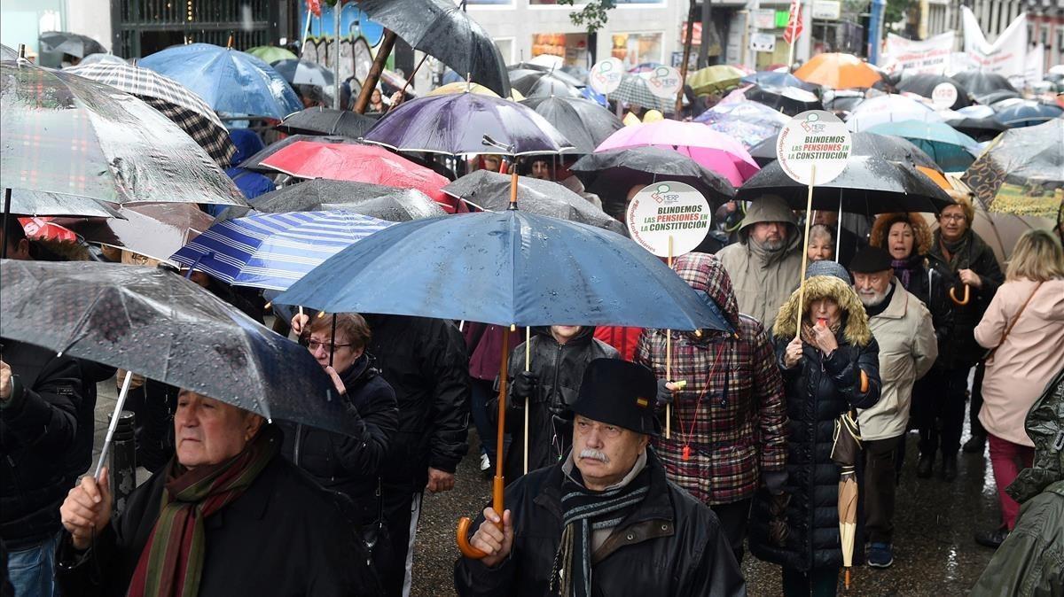 Manifestación de los pensionistas en Madrid.