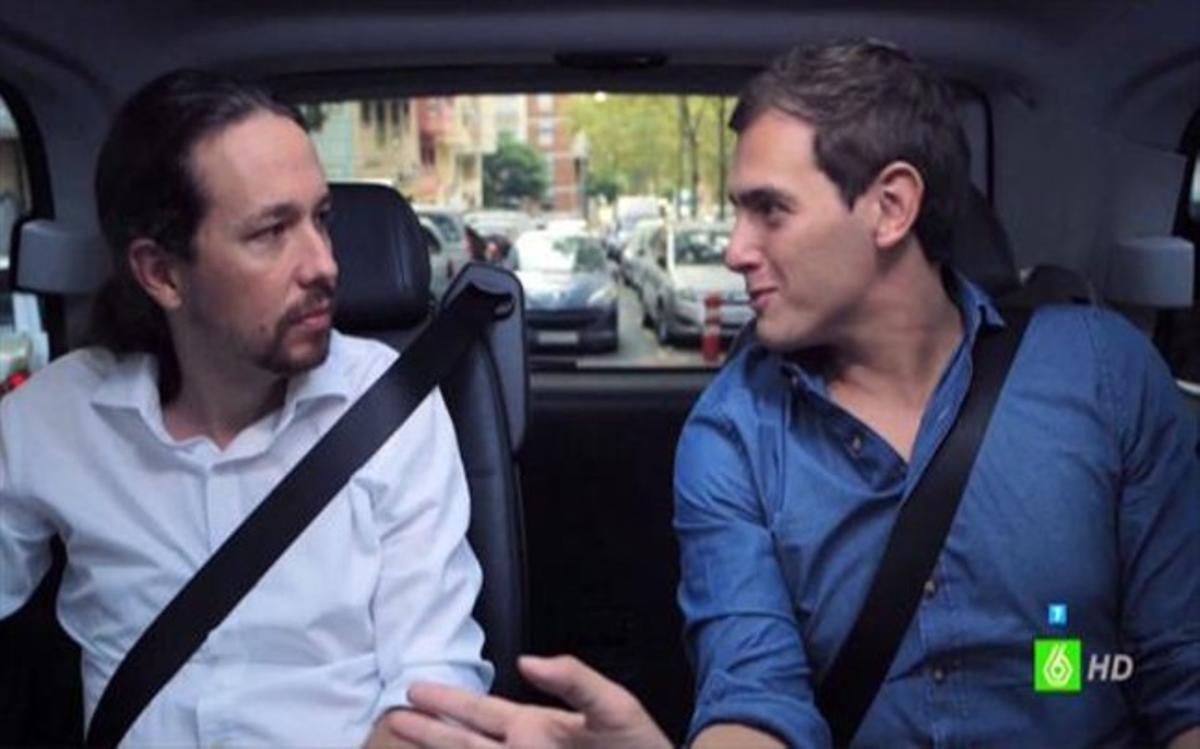 Pablo Iglesias y Albert Rivera, en el programa 'Salvados' de Jordi Évole.