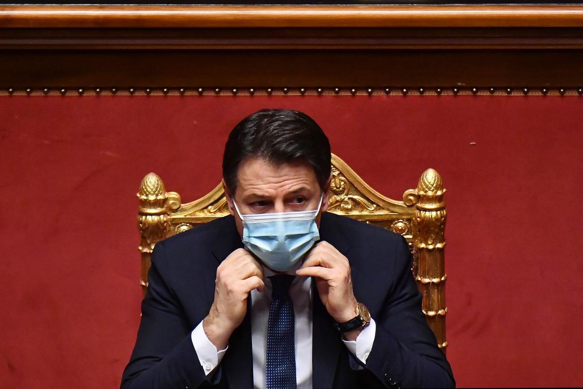 El primer ministro italiano, Giuseppe Conte, durante su discurso en el Senado, este martes.