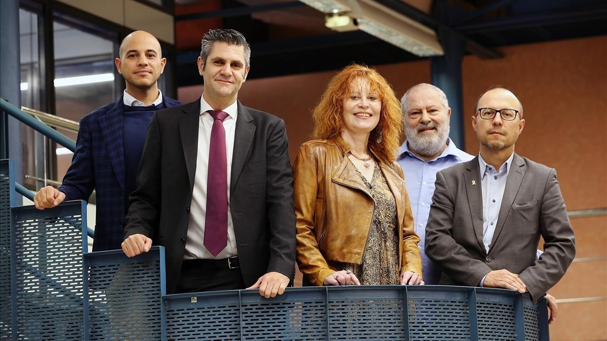 De izquierda a derecha, Luis Morales, Pablo Alcaraz, Alwine Woischnik, Mario Giampietro y Salvador Samitier.