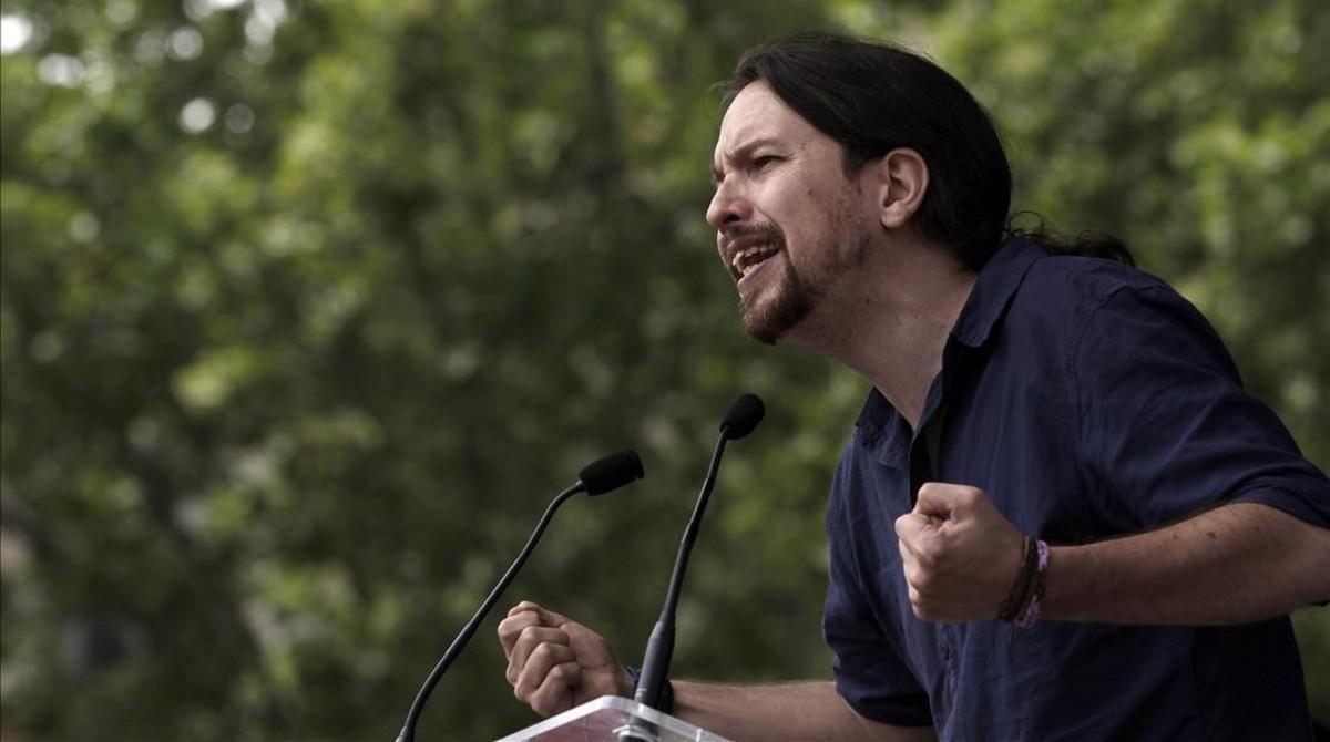 Pablo Iglesias interviene en un mitin de la campaña 26-J.