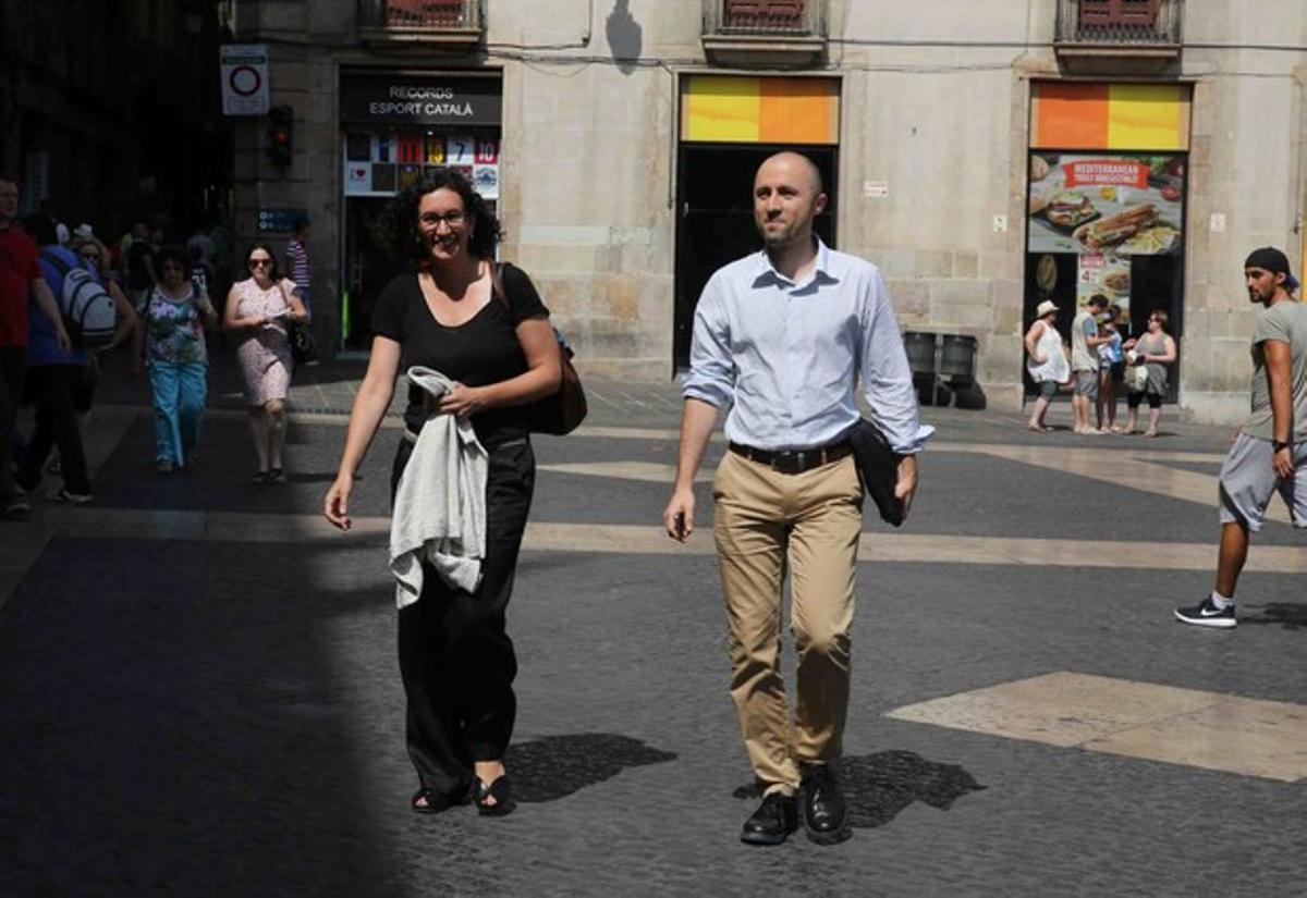 La secretaria general de ERC, Marta Rovira, entrando en el Palau de la Generalitat, este martes 14 de julio.