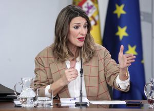 18/02/2020 La ministra de Trabajo y Economía Social, Yolanda Díaz, comparece en rueda de prensa tras el Consejo de Ministros en Moncloa, en Madrid (España), a 18 de febrero de 2020.